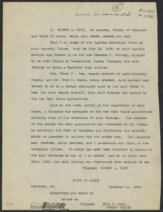 Sacco-Vanzetti Case Records, 1920-1928. Defense Papers. Affidavit/Deposition of Cony, Robert A., December 12, 1922. Box 9, Folder 26, Harvard Law School Library, Historical & Special Collections