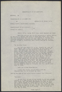 Sacco-Vanzetti Case Records, 1920-1928. Defense Papers. Affidavit/Deposition of Doyle, Thomas, July 20, 1922. Box 9, Folder 32, Harvard Law School Library, Historical & Special Collections
