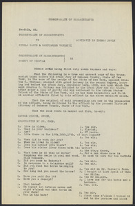 Sacco-Vanzetti Case Records, 1920-1928. Defense Papers. Affidavit/Deposition of Doyle, Thomas, July 20, 1922. Box 9, Folder 33, Harvard Law School Library, Historical & Special Collections