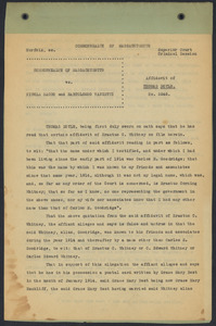 Sacco-Vanzetti Case Records, 1920-1928. Defense Papers. Affidavit/Deposition of Doyle, Thomas, April 1923. Box 9, Folder 34, Harvard Law School Library, Historical & Special Collections