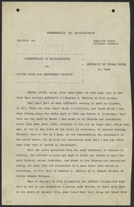 Sacco-Vanzetti Case Records, 1920-1928. Defense Papers. Affidavit/Deposition of Doyle, Thomas, September 25, 1923. Box 9, Folder 35, Harvard Law School Library, Historical & Special Collections