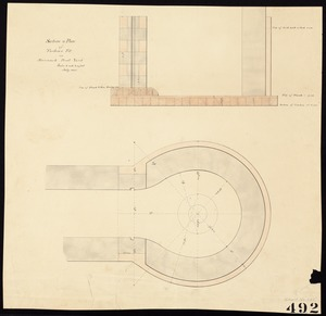 Section & plan of turbine pit in Merrimack print yard