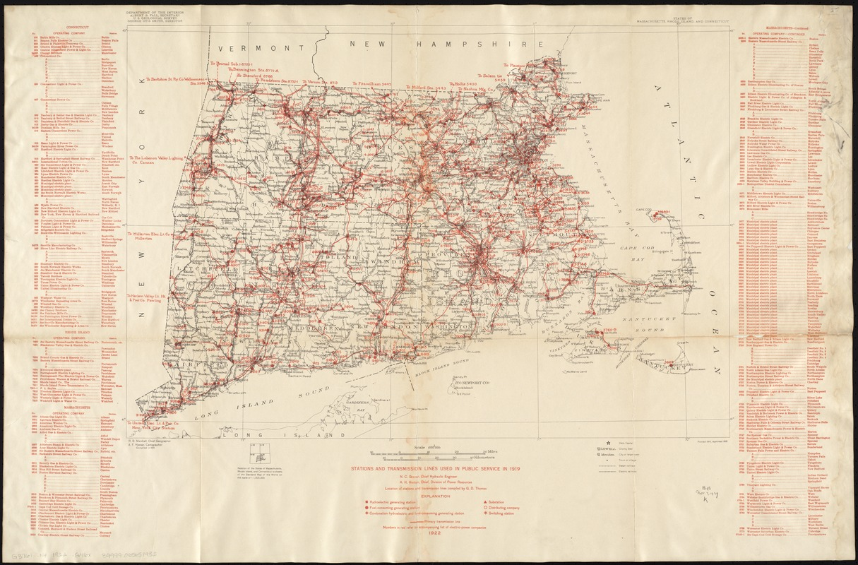 Stations and transmission lines used in public service in 1919