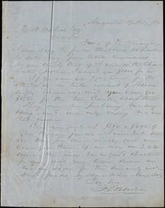 F. C. Barber, Augusta, Ga., autograph letter signed to Ziba B. Oakes, 17 February 1854