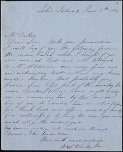William T. Whaley, Jr., John's Island, S.C., autograph letter signed to Ziba B. Oakes, 5 June 1854