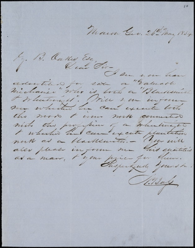 N. Bass, Macon, Ga., autograph note signed to Ziba B. Oakes, 26 May 1854