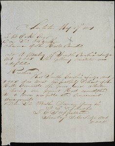 Independent Order of Oddfellows, Charleston; S.C., autograph letter signed to Ziba Oakes, 17 May 1854