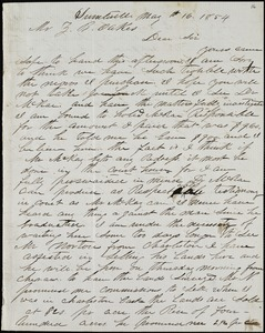 A. J. McElveen, Sumterville, S.C., autograph letter signed to Ziba B. Oakes, 16 May 1854