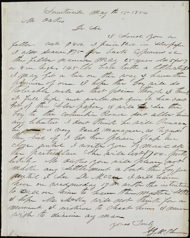 A. J. McElveen, Sumterville, S.C., autograph letter signed to Ziba B. Oakes, 15 May 1854