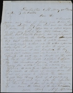 A. J. McElveen, Darlington Court House., autograph letter signed to Ziba B. Oakes, 10 May 1854