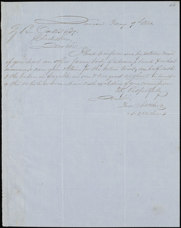 A. A. DeLorme, Darien, Ga., autograph letter signed to Ziba B. Oakes, 9 May 1854
