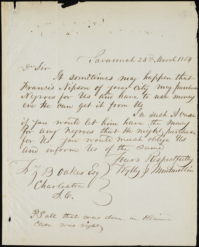 Wylly & Montmollin, Savannah, Ga., manuscript letter signed to Ziba B. Oakes, 23 March 1854