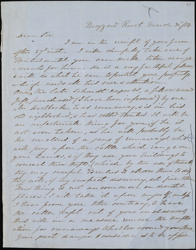 W.O. Prentiss, Buzzard Roost, Ala., autograph letter signed to Ziba B. Oakes, 30 March 1854
