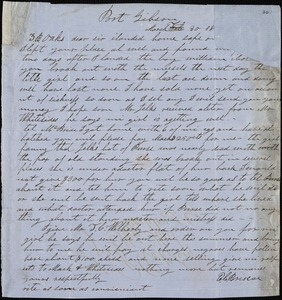 E. C. Briscoe, Port Gibson, Miss., autograph letter signed to Ziba B. Oakes, 30 March 1854