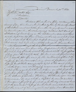 A.A. DeLorme, Darien, Ga., autograph letter signed to Ziba B. Oakes, 21 March 1854