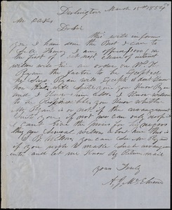 A. J. McElveen, Darlington, S.C., autograph letter signed to Ziba B. Oakes, 15 March 1854