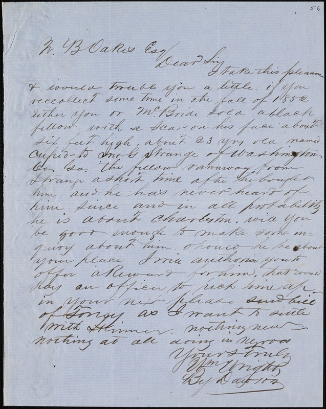 William Wright, Savannah, Ga.?, autograph letter signed to Ziba B. Oakes