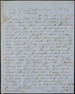 A. J. McElveen, Sumterville, S.C., autograph letter signed to Ziba B. Oakes, 6 March 1854