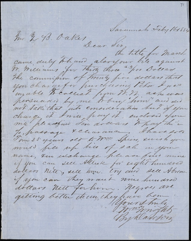 William Wright, Savannah, Ga., manuscript letter signed to Ziba B. Oakes, 16 February 1854