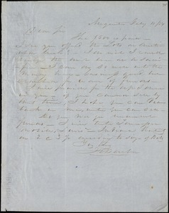 F. C. Barber, Augusta, Ga., autograph letter signed to [Ziba B. Oakes], 11 February 1854