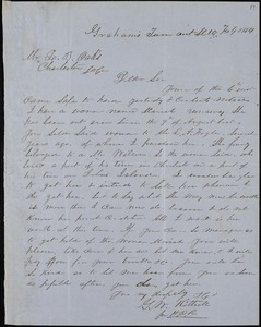G.W. Kittrell, Graham's Turnout, manuscript letter signed to Ziba B. Oakes, 10 February 1854