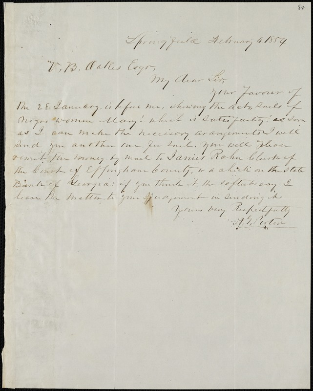 A.G. Porter, Springfield, autograph letter signed to Ziba B. Oakes, 6 February 1854