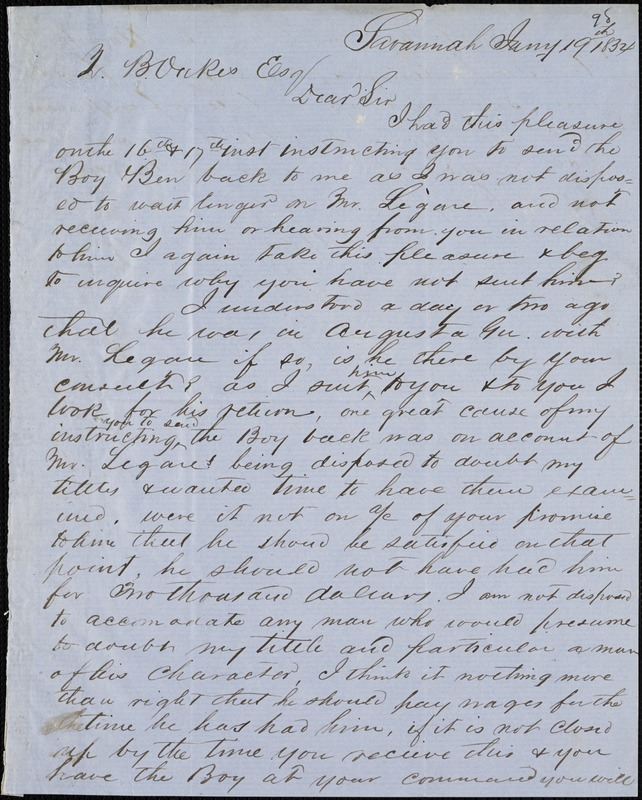 William Wright, Savannah, Ga., manuscript letter signed to Ziba B. Oakes, 19 January 1854