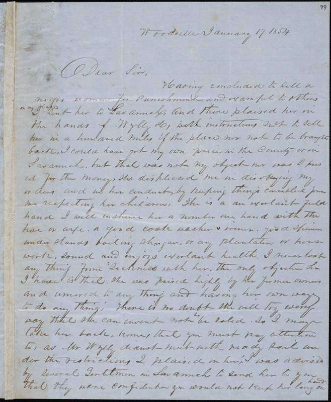 A.G. Porter, Woodville, autograph letter signed to Ziba B. Oakes, 17 January 1854