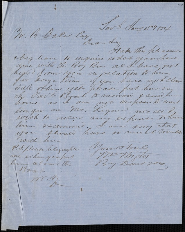William Wright, Savannah, Ga., manuscript letter signed to Ziba B. Oakes, 15 January 1854