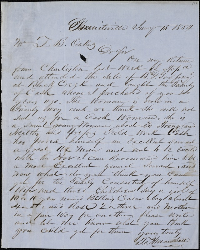 T.H. Marshall, Graniteville, S.C., autograph letter signed to Ziba B. Oakes, 15 January 1854