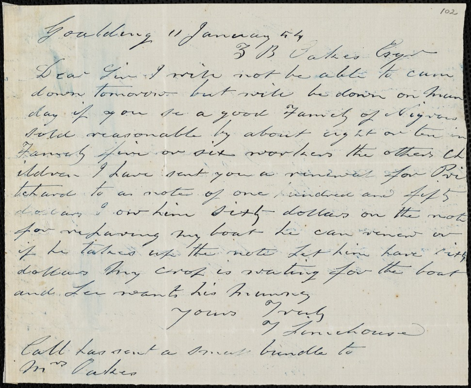 Thomas Limehouse, Goulding, S.C.[?], autograph letter signed to Ziba B. Oakes, 11 January 1854