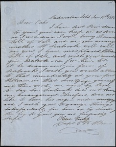 Capt. C.H. Wilson, Wadmalaw Island, S.C., autograph letter signed to Ziba B. Oakes, 11 January 1854