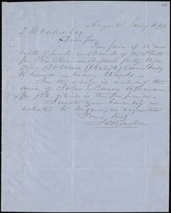 F. C. Barber, Augusta, Ga., autograph letter signed to Ziba B. Oakes, 11 January 1854