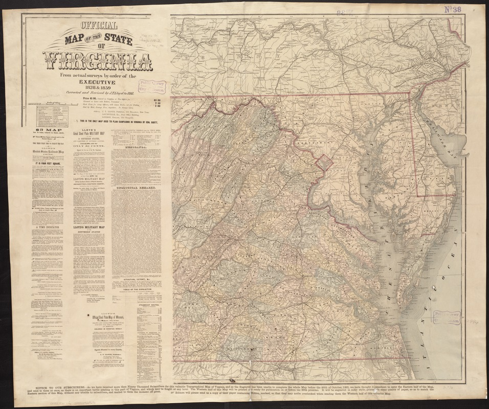 Official map of the state of Virginia