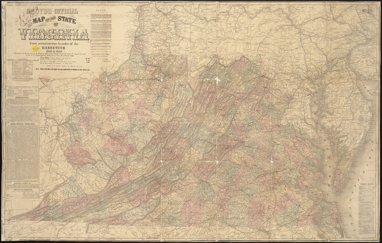 Lloyd's official map of the state of Virginia from actual surveys by order of the Executive, 1828 & 1859