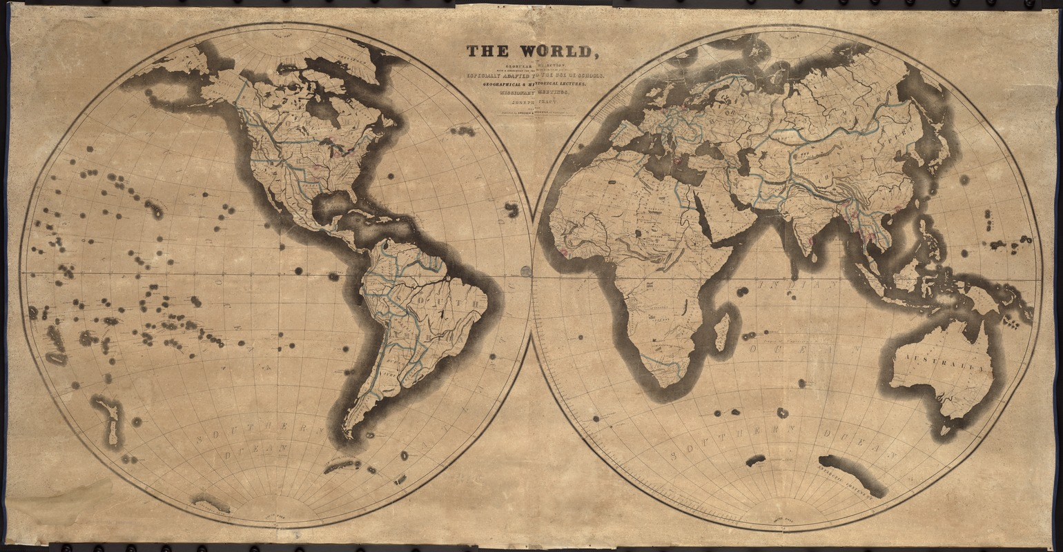 The World, on the globular projection with a graduation for the measurement of distances especially adapted for the use oe [sic] schools, geographical & historical lectures, and missionary meetings