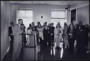 Newton Free Library, Newton, MA. Communications & Programs Office. 10th Anniversary Mayor Cohen in auditorium