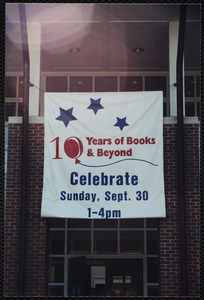 Newton Free Library, Newton, MA. Communications & Programs Office. 10th Anniversary banner