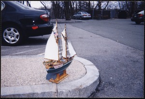 Newton Free Library, Newton, MA. Communications & Programs Office. Henry J. Perley's model of whaling schooner, Agate