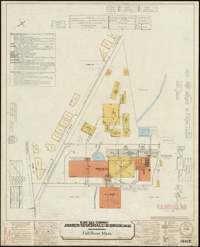 James Marshall & Bros., et al (Hat Factory), Fall River, Mass. [insurance map]