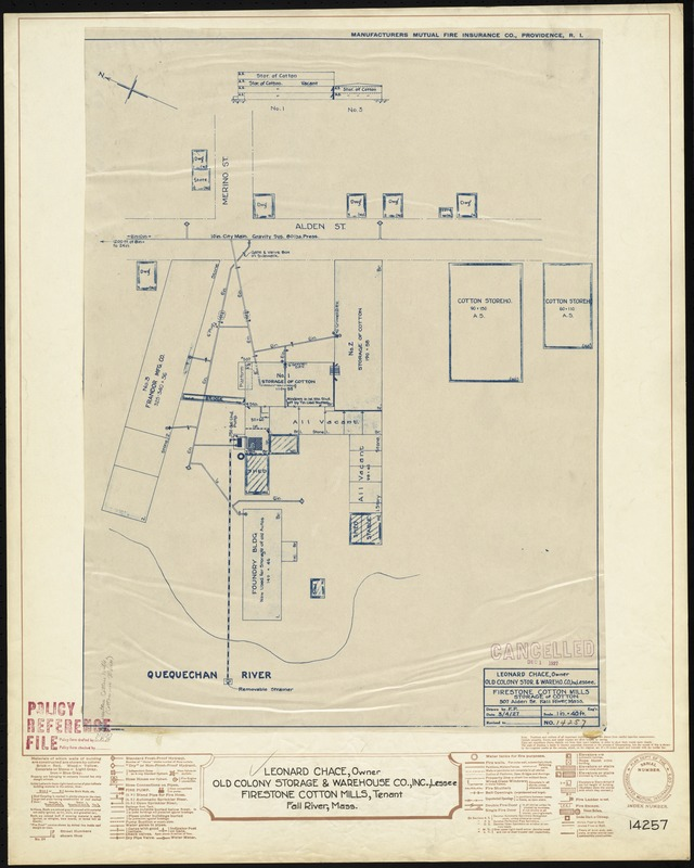 Leonard Chace (Owner), Old Colony Storage & Warehouse Co., Inc. (Lessee), Firestone Cotton Mills (Tenant), Fall River, Mass. [insurance map]