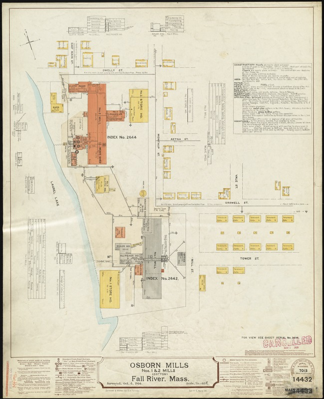 Osborn Mills, Nos. 1 & 2 Mills (Cotton), Fall River, Mass. [insurance map]
