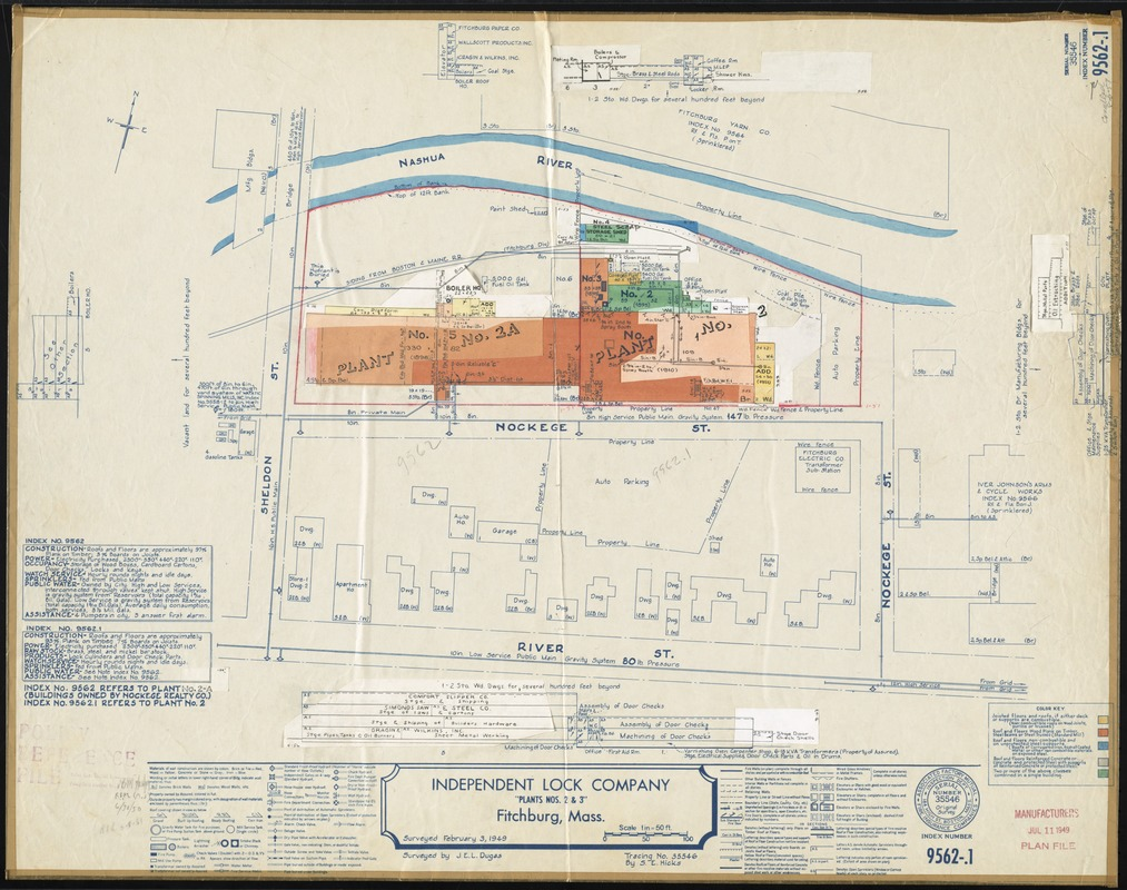 """Independent Lock Company """"Plants Nos. 2 & 3,"""" Fitchburg, Mass. [insurance map]"""