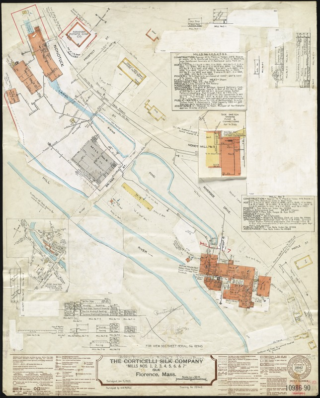 """The Corticelli Silk Company """"Mills Nos. 1, 2, 3, 4, 5, 6 & 7,"""" Florence, Mass. [insurance map]"""