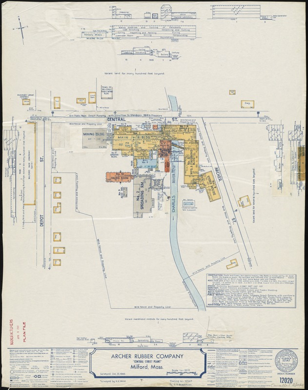 "Archer Rubber Company ""Central Street Plant,"" Milford, Mass. [insurance map]"