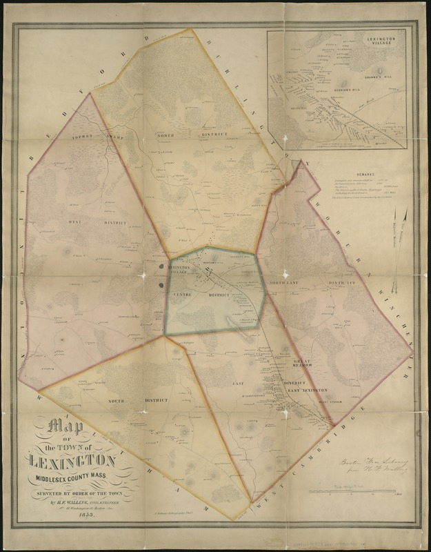 A map of the town of Lexington Middlesex County, Mass