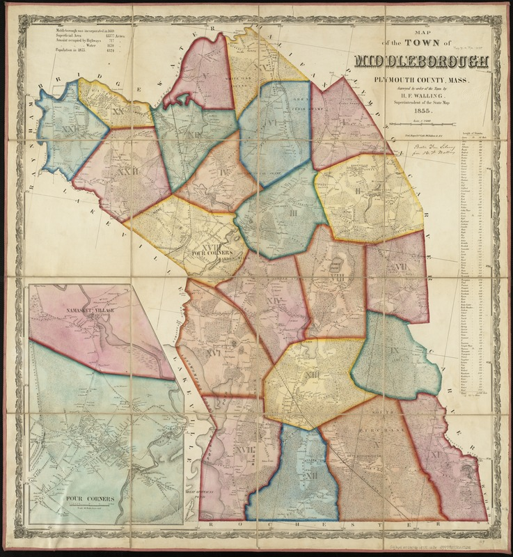 Map of the town of Middleborough, Plymouth County, Mass