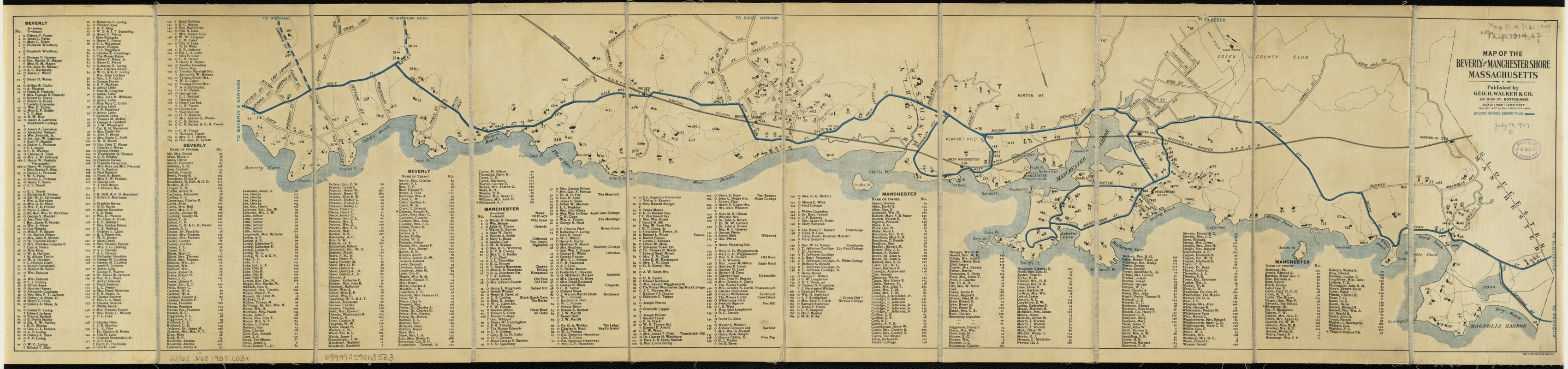 Map of the Beverly and Manchester shore Massachusetts