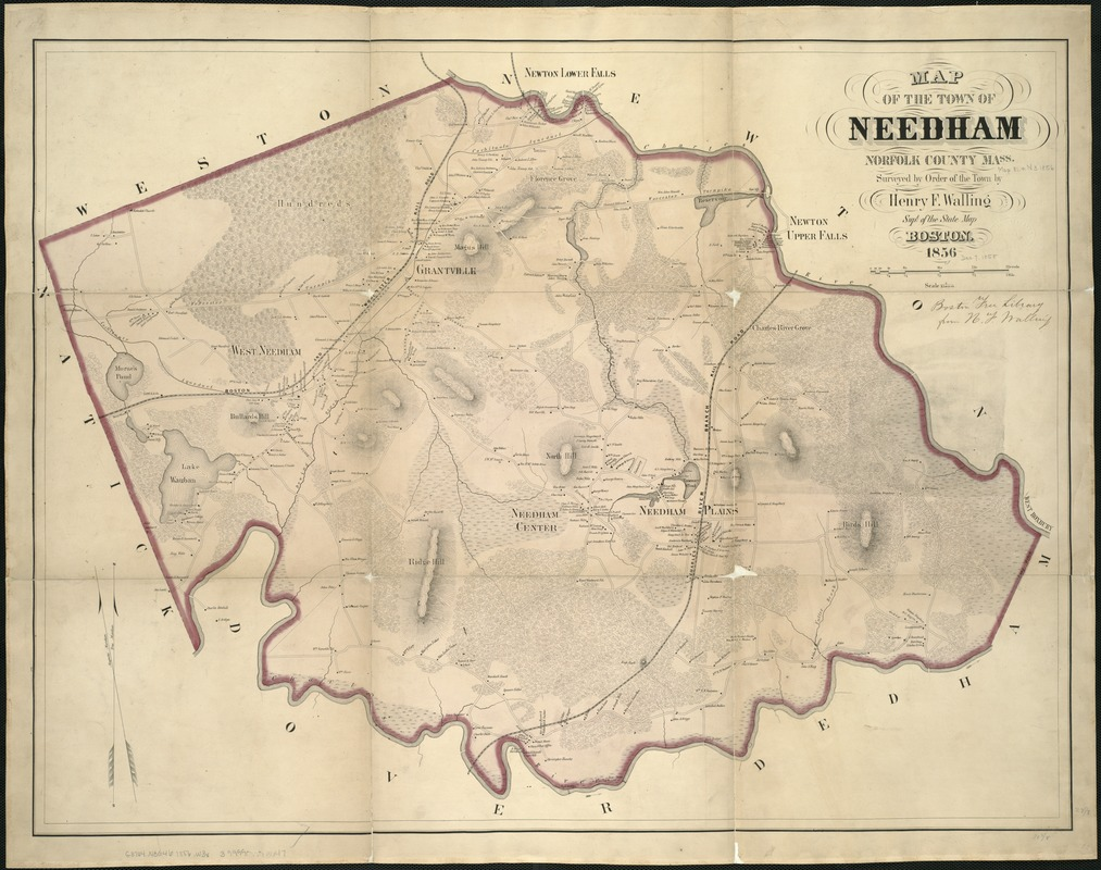 Map of the town of Needham, Norfolk County, Mass