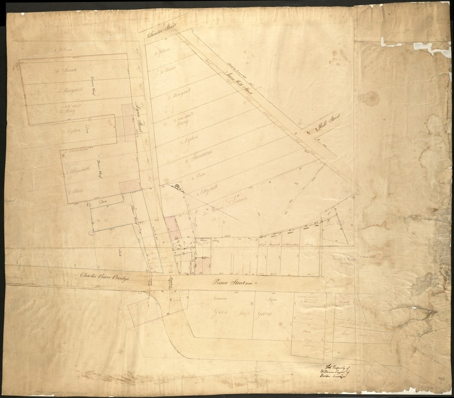 [Plan of estates on Charles River bridge, Prince Street, Lynn Court, and Snow Hill Street]
